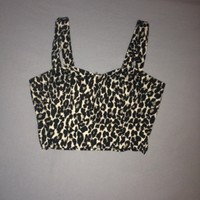 Padded leopard/cheetah print crop top