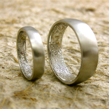 Personalized Finger Print Wedding Rings in Platinum with Rounded Ring Profiles and Satin Finish Size 11/7mm & 6.5/4mm