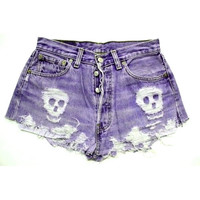 ANY COLOR Ripped Skull Frayed Denim High-Waisted Shorts