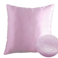 "Crocus Petal, Pale Lilac 16"" x 16"" Decorative Solid Satin Square Throw Pillow Cases Cushion Covers Textured for Couch Sofa Bed"