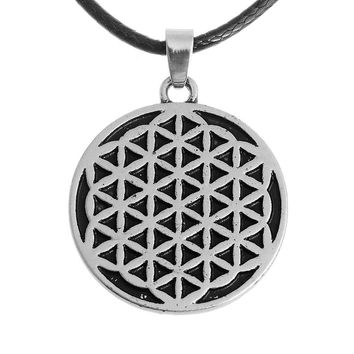 10pcs Cotton Necklace Flower of Life Pewter Pendant Charm with Cotton Necklace Free Shipping
