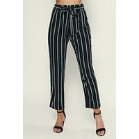 Catch You Later Striped Pants (Black)