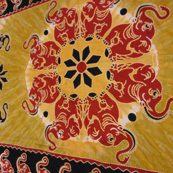 large elephant bed spread, twin size tapestry, indian mandala, tablecloth, india, lounge, hookah decor, party, wedding display