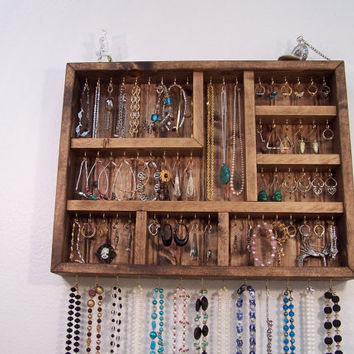 Jewelry Display Case Handmade Wood Wall from barbwireandbarnwood