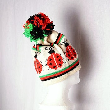 Vintage Ladybug Wool Ski Hat 1970s Aris Pom Pom Skiing Skull Cap 60s 70s Red Green Black Hipster Emo Knit Sweater Hat Ladies Mens Unisex