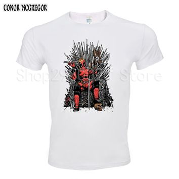 2018 Newest Cool Deadpool on the Iron Throne T-Shirt Design Fashion Game of thrones Tshirts Men's Short Sleeve Tee Tops