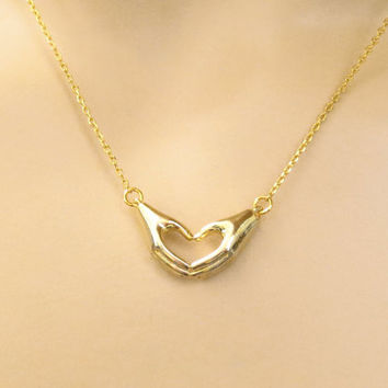 Unique, Lovely, Hands, Heart, Love, Sign, Gold, Silver, Necklace, Heart, Necklace, Love, Necklace, Modern, Minimal, Dainty, Gift, Jewelry