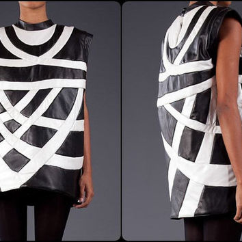 Special Design Tacky Theo Padded Leather Top-Dress/Tunic   - Ver Rare