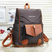 MK Michael Kors New fashion more letter print leather backpack bag Coffee