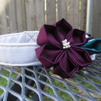 Dog Collar and Flower - READY TO SHIP Plum Kanzashi Flower on white Dog Collar - Wedding Collar, white dog collar, purple dog flower