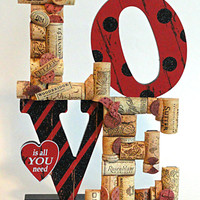 Wine Cork Sign Love Is All You Need Wine Cork Sculpture Valentines Day Sign