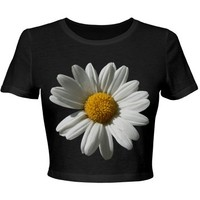 Dazed Daisy Floral: Custom Junior Fit Bella Crop Top T-Shirt - Customized Girl