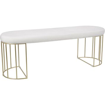 Canary Contemporary Dining / Entryway Bench with White Mohair Fabric, Gold