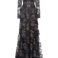 Marchesa Re-Embroidered Lace Threadwork Long Sleeve Gown Navy
