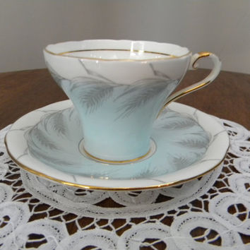 Goregous Powder Blue Aynsley Corset Teacup, Gold Trim and Handle, Wheat Stalks Around Both Pieces -C1436/1-1934 to 1950s, Made in England