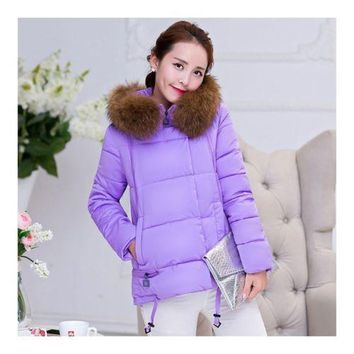 Winter Cotton Coat Slim Plus Size Thick Down Coat   purple