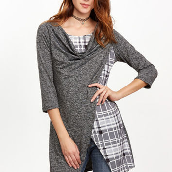 3/4 Sleeve Plaid Panel Slim Fit Irregualr Dress - NOVASHE.com