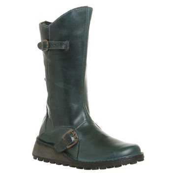 Fly London Fly Mes Wedge Calf Boots Petrol Rugg - Knee Boots