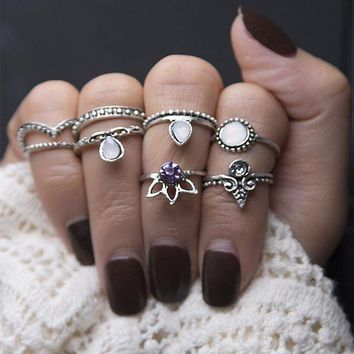 R071 8ps/Set Vintage Turkish Beach Ring Punk Hollow Crown Crystal Rings Set Carved Boho Midi Finger Knuckle anelli Anillos