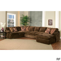 Champion 4-piece Chaise Sectional Brown Fabric Oversized Set | Overstock.com