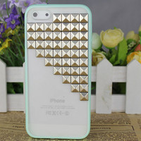 Light Green transparent Hard Case Cover With Silvery Stud for Apple iPhone5 Case, iPhone 5 Cover,iPhone 5 Case, iPhone 5g