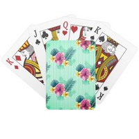Cool blue base with pink floral texture playing cards