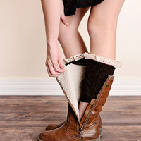 Vintage Lace Trim Cable Knit Boot Cuffs Coffee Dark Brown Ankle Socks