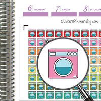 Washing Machine Planner Stickers Washing Stickers Planner for Erin Condren Planner Happy Planner Washing Machine Stickers ( i10 )