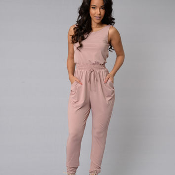 Hugs & Kisses Jumpsuit - Dusty Pink
