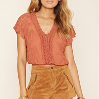 Crochet Lace-Up Crop Top