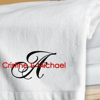 Set of 2 Monogrammed Personalized Beach by TinasEmbroidery on Etsy