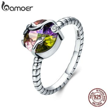 BAMOER 100% 925 Sterling Silver Natural Magic Colorful Crystal Stone Femme Finger Ring for Women Sterling Silver Jewelry SCR282