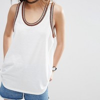 ASOS Varsity Vest In Longline With Metallic Tipping