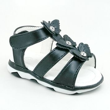 Baby Black LED Sandal with Hook and Loop Strap and Butterfly Details