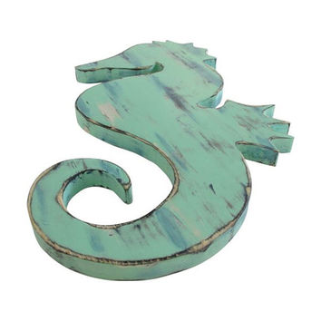 Seahorse in Muti colors  Wood Sign Wall Decor Rustic Americana Nautical Coastal Country Chic Photo prop