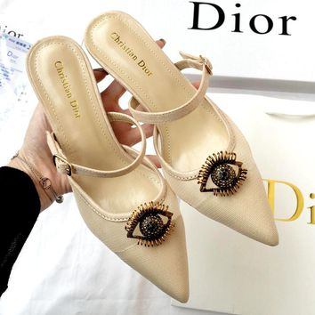 Free shipping-Dior 2019 new metal eye lip high heel sandals and slippers