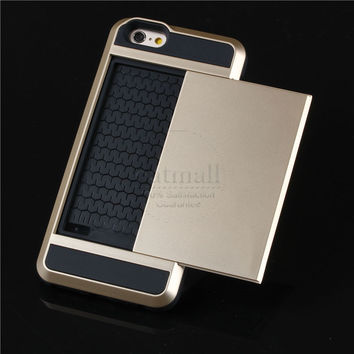 """New Hybrid Tough Capa For Apple iphone 6 Case 4.7"""" Card Slider with Card Storage Armor Cover For iphone6"""