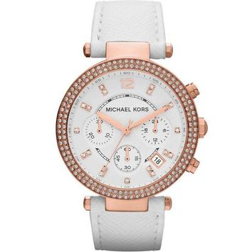 DCCKWA2 Michael Kors Watches Parker Watch (White/Rose Gold)