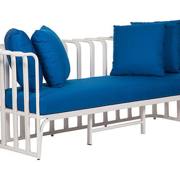 "Calla 75"" Outdoor Loveseat, Blue 