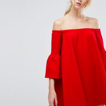 ASOS Off Shoulder Dress with Bell Sleeve at asos.com