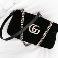 GUCCI Marmont New Fashion Women Shopping Leather Metal Chain Crossbody Satchel Shoulder Bag Velvet Black