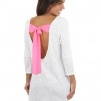White Speckled Top With Pink Bow