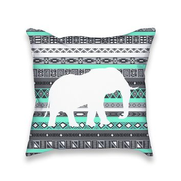 Turquoise Mint Aztec Elephant Print Throw Pillow