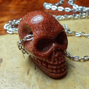 Skull Necklace - Red Goldstone Gemstone Pendant (C20H) Polished Raw Natural Handmade Stone Shiny