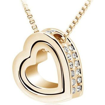 Double Hearts Crystal Gold Necklace