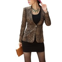 Women Padded Shoulder Leopard Prints Long Sleeve Fall Blazer Black Brown XS