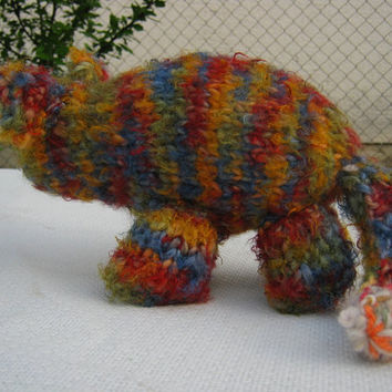 Cat  OOAK hand knitted unique soft stuffed unique silly toy plush