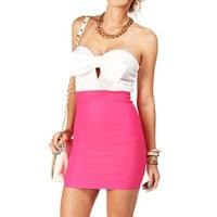 White/Pink Bow Top Tube Dress