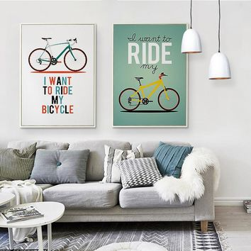 Kawaii Cute  Bicycle Poster Print  Modern Nordic Cartoon Nursery Wall Art Picture Room Decor Canvas Painting No Frame