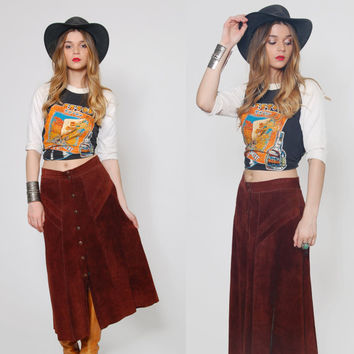 Vintage 70s SUEDE Skirt Chocolate Brown Leather PATCHWORK Festival Midi Skirt Boho Skirt Hippie Skirt